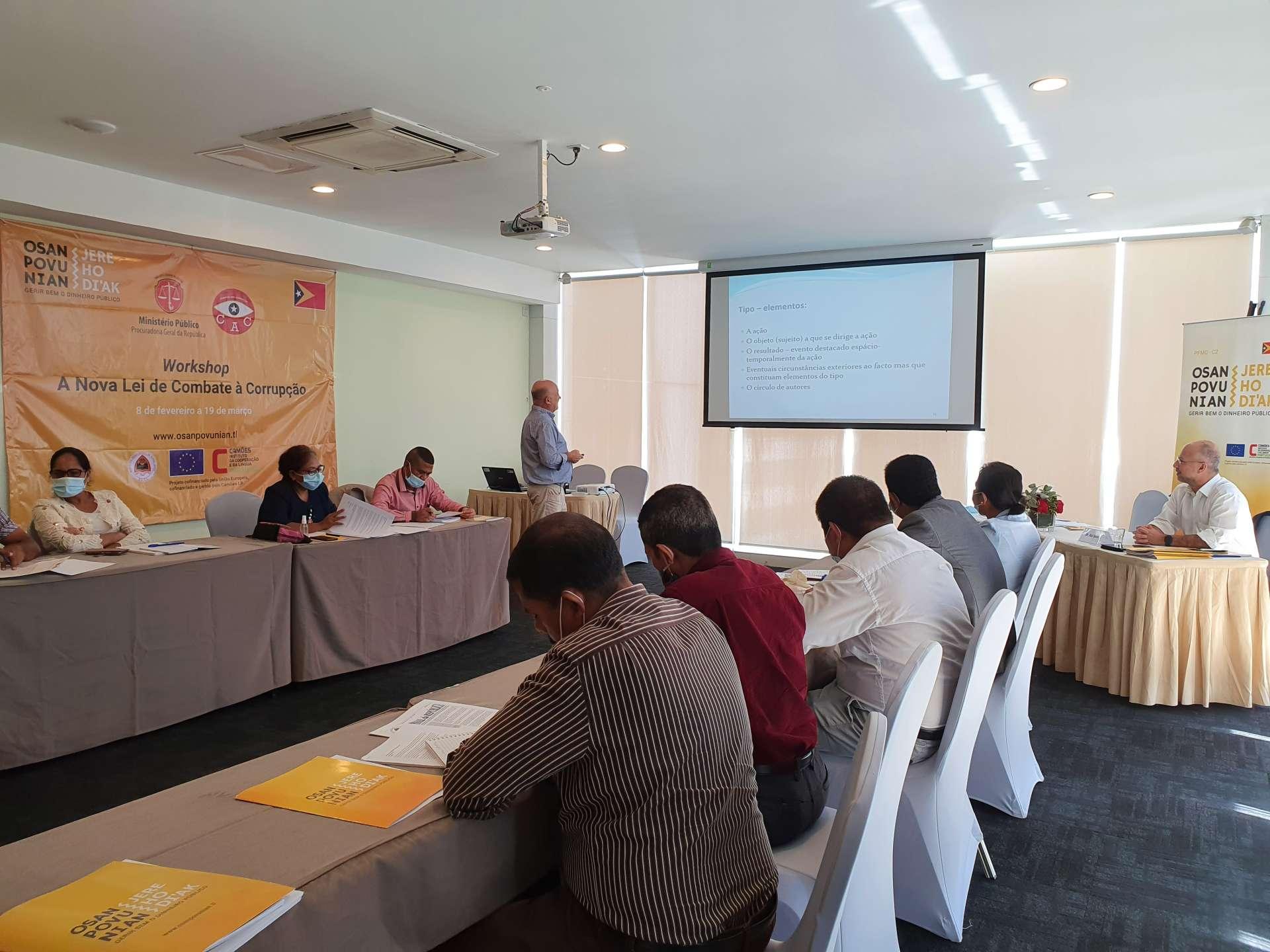 """PFMO """"OSAN POVU NIAN, JERE HO DI'AK"""" realiza Workshop sobre """"A Nova Lei de Combate à Corrupção"""" para os magistrados do Ministério Público e os investigadores da Comissão Anticorrupção"""